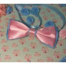 Галстук бабочка классика розово-голубая