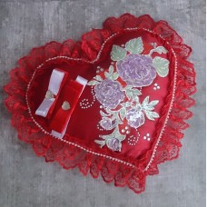"Подушечка для колец  ""Сердце"" SvetikFantasy , цвет: красная  Размер: 22 см №5073.450"