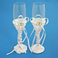 "Бокалы Свадебные  ""Два кольца"", белые №5128.1112"