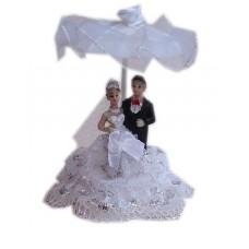 Жених с невестой под зонтом,  6х9 см  №5050.90