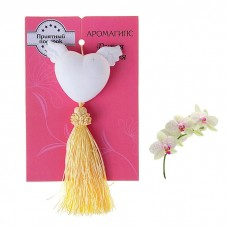Аромагипс сердечко с кисточкой аромат Дикая орхидея, 15 × 11 × 2 см №4766.26