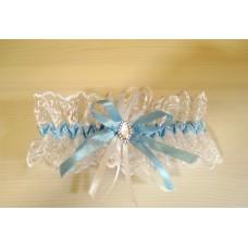Подвязка белая с голубым SvetikFantasy, 6,8см  №4812.75