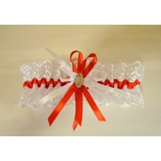 Подвязка белая с красным SvetikFantasy, 6,8см  №4813.75