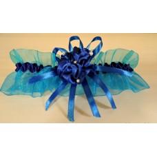 Подвязка голубая с синим SvetikFantasy, 5,6см  №4815.60