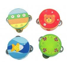 Бубен малый игрушка музыкальная ,  дерево, металл, размер: 4,5 х 12 см, цвета в ассортименте, 1 штука №4576.254