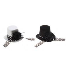 """Карнавальная шляпка """"Цилиндр"""", с лентой, в горошек 14х15х19см, цвета: черный, белый  №3444.321"""