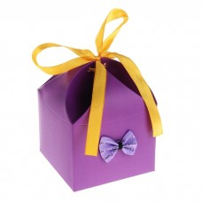 """Коробка сборная """"Мешочек счастья с бантиком"""" фиолетовая 8,0 х 8,0 х 10,0 см №4498.17"""