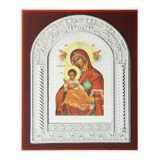 "Икона ""Божьей Матери"" серебристая на подставке, 0,5 х 13,5 х 16,5 см №4511.65"