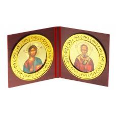 "Икона складная ""Иисус Христос. Николай Чудотворец"", 12,5 х 13 х 1,2 см №4516.66"