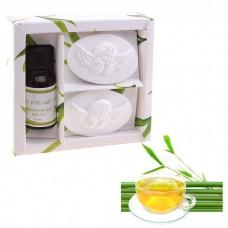 Набор подарочный Де Люкс бамбук и белый чай(аромамасло 10мл,подвеска гипс 2шт) Ангелочек 3х10,5х10 см №4313.65