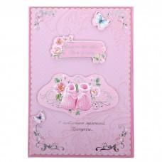 """Папка для свидетельства о рождении девочки """"Пинетки"""" А5, 13,2 х 19,5 см №4350.72"""