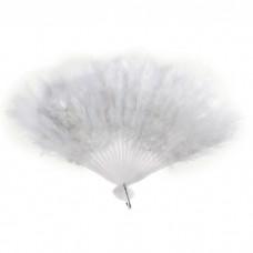 Веер пуховой цвет белый, 25см №4149.65