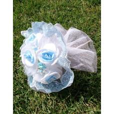 Букет невесты Бело-голубой (ткань)
