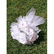 Букет невесты Бело-сиреневый (ткань)