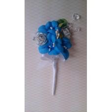 Бутоньерка 11,5х6см SvetikFantasy Цвет: голубой, бирюза