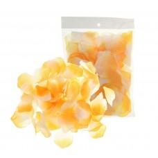 Лепестки текстиль (упаковка 150 шт) Оранжево-белые тканевые №4106.30