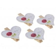 """Прищепки декор """"Сердца с розой"""", набор 4 штуки №3848.40"""