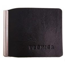 Зажим для денег натуральная кожа  игуана черный, размер: 0,1х9,5х8 см №3672.86