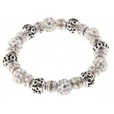"""Браслет """"Шамбала"""", цвет серебро с белым, 0,9 × 7 см №3713.155"""