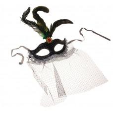 Карнавальная маска с вуалью, перьями 34х18см, цвета в ассортименте №3734.60
