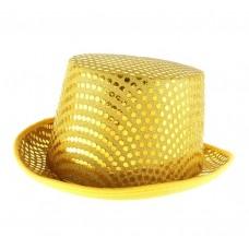 Шляпа Цилиндр с блеском  желтая, фетр 30х25х14см  №3743.170