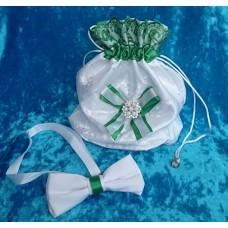 Комплект: Сумочка и Галстук-бабочка SvetikFantasy белый/зеленый  №3531_2.439