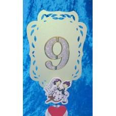 Нумерация столов от 1 до 9, в наборе 9 карточек  Размер: 10см, цвет:мятный, цифры серебро с золотом №3542.367 (без держателя)