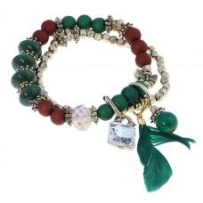 """Браслет """"Огненный феникс"""" 2 ряда, перо, цвет зелено-коричневый 0,5 х 1 х 7 см №3407.156"""