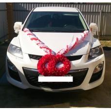 Комплект для украшения машины (Лента на капот- 1шт (бело/красная), украшение на радиатор (красный)  1шт, банты на зеркала или ручки- 2шт(бело/красные)) №3454.525