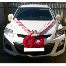 Комплект для украшения машины (Лента на капот- 1шт (бело/красная), украшение на радиатор (красный)  1шт, банты на зеркала или ручки- 2шт(бело/красные), Ёжики) №3454_3.971