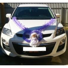 Комплект для украшения машины (Лента на капот- 1шт, украшение на радиатор 1шт, цветы на зеркала или ручки- 2шт(бело/сиреневые), Кукла) цвет: сиреневый  №3456_4.824