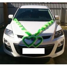 Комплект для украшения машины (Лента на капот- 1шт, украшение на радиатор 1шт, цветы на зеркала или ручки- 2шт) цвет: бело/салатовый/зеленый  №3466.355