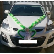 Комплект для украшения машины (Лента на капот- 1шт, украшение на радиатор 1шт, цветы на зеркала или ручки- 2шт, Кукла) цвет: бело/салатовый/зеленый  №3466_4.736