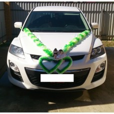 Комплект для украшения машины (Лента на капот- 1шт, украшение на радиатор 1шт, цветы на зеркала или ручки- 2шт, Ёжики) цвет: бело/салатовый/зеленый  №3466_5.801