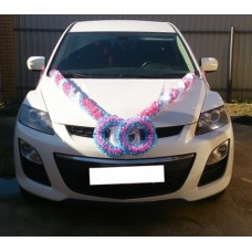 Комплект для украшения машины (Лента на капот- 1шт, украшение на радиатор 1шт, ленты на зеркала или ручки- 2шт) цвет: бело/розовый/голубой  №3473.406