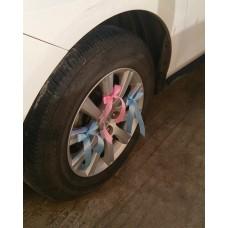 Украшения на 4 колеса машины, 12 лент, цвет: голубой/розовый  №3474_2.240