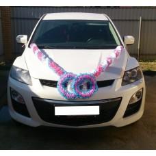 Комплект для украшения машины (Лента на капот- 1шт, украшение на радиатор 1шт, цветы на зеркала или ручки- 2шт) цвет: бело/розовый/голубой  №3474.493
