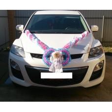 Комплект для украшения машины (Лента на капот- 1шт, украшение на радиатор 1шт, цветы на зеркала или ручки- 2шт, Кукла) цвет: бело/розовый/голубой  №3474_5.874