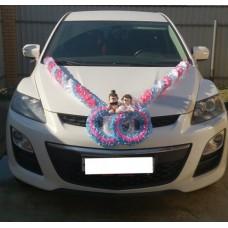 Комплект для украшения машины (Лента на капот- 1шт, украшение на радиатор 1шт, цветы на зеркала или ручки- 2шт, Ёжики) цвет: бело/розовый/голубой  №3474_6.939