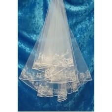 Фата с вышивкой, бусины  Размер полотна : 1,45 метра Цвета:  айвори  №3211.455