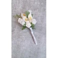 Бутоньерка Каллы SvetikFantasy Цвет: белый с молоком, размер: стебель 16см, цветы 5,5 х 7 см №3274.142