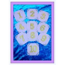 Нумерация столов от 1 до 9, в наборе 9 карточек  Размер: 10см, цвет:сиреневый, цифры серебро с золотом №3298.367