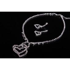 Комплект бижутерии  (колье, серьги) цвет: серебро №2996.230