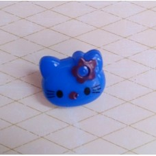 Пуговица Киса, цвет: синий, размер: 1,2 х 1,4 см №3124.4