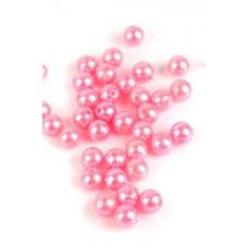 Бусины шарики перламутровые розовые размер: 1,00 см №3145.30