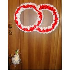 Два кольца для украшения квартиры, зала, стен, штор атлас бело-красный №1618.101