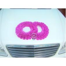 Два кольца для украшения машины шелк цвет: фиолетовый №2796.110