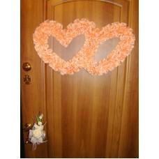 Два сердца для украшения квартиры, зала, стен, штор шелк цвет: персик №2802.110