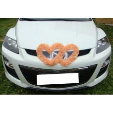 Два сердца для украшения машины шелк цвет: персик №2802.110