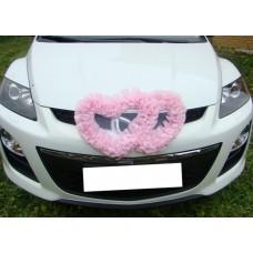 Два сердца для украшения машины шелк цвет: розовый №2804.110